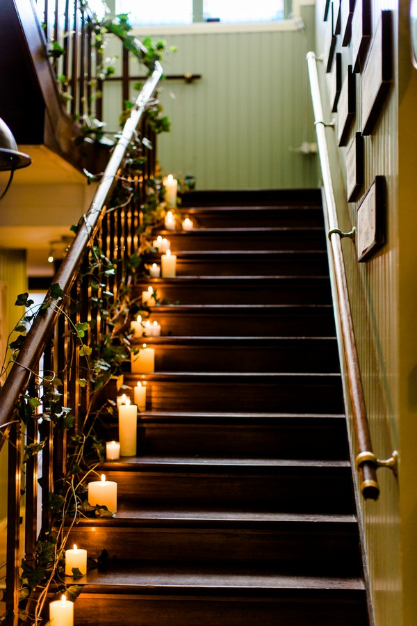 Candles on stairs in Park Hotel Hugo de Vries