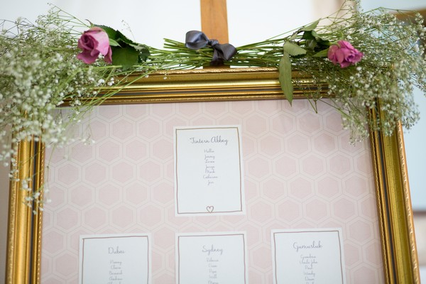 Flowers on top of wedding table plan