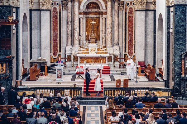 Wedding ceremony in St Aloysius Church, Glasgow