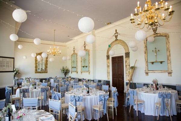 Wedding reception tables at Kings Weston House