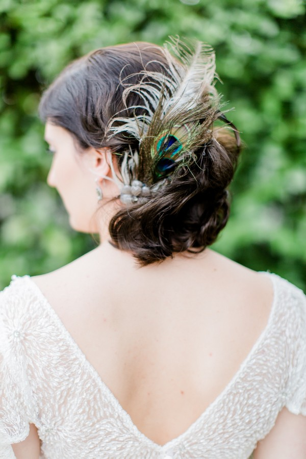Peacock feather bridal hairpiece