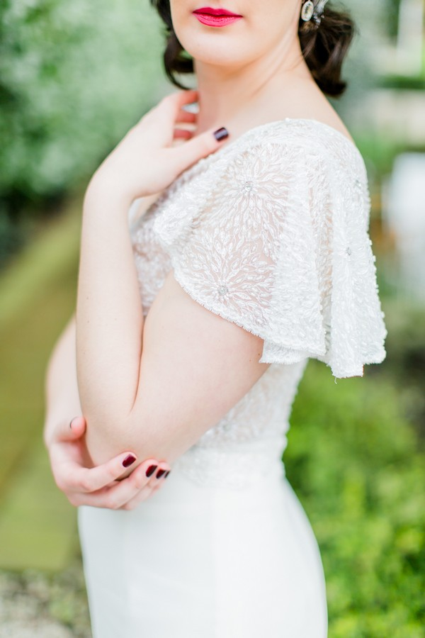 Butterfly sleeves on wedding dress