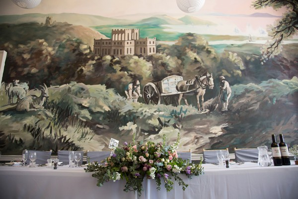 Top table wedding flowers at Kings Weston House