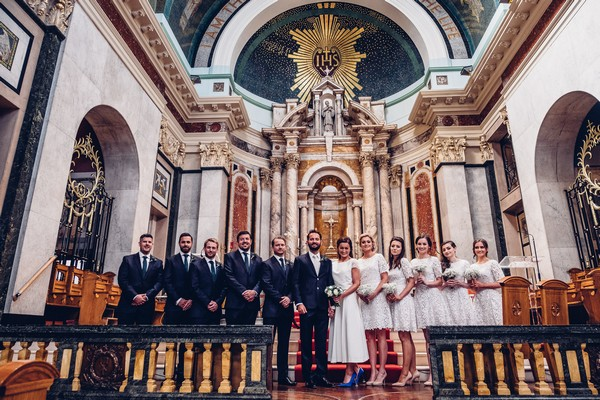 Bridal party in line in St Aloysius Church, Glasgow