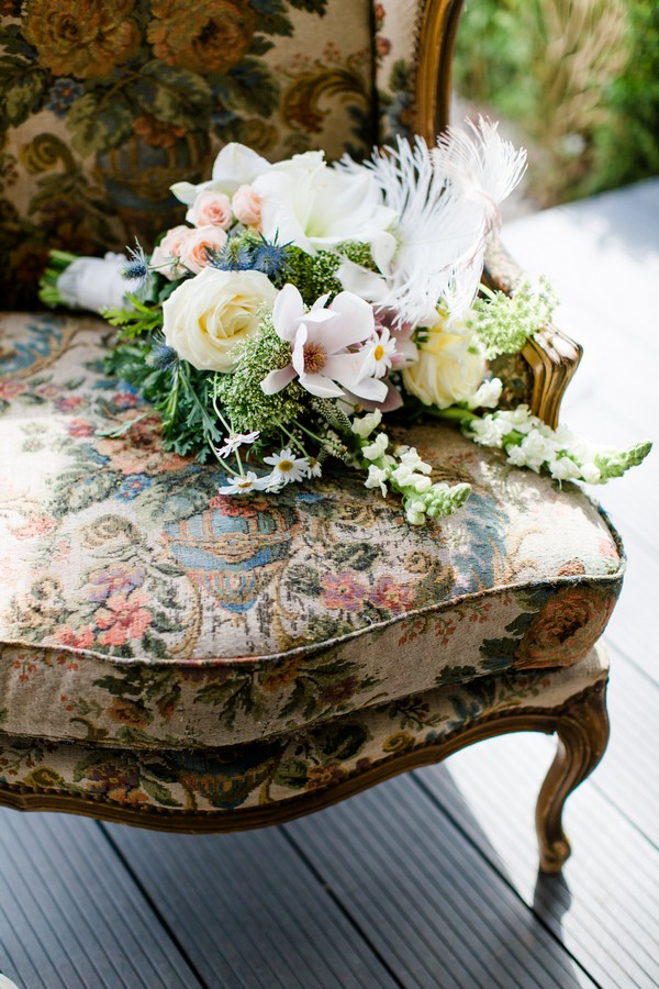 Bridal bouquet on Art Nouveau chair