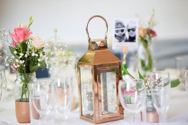 Copper lantern on wedding table