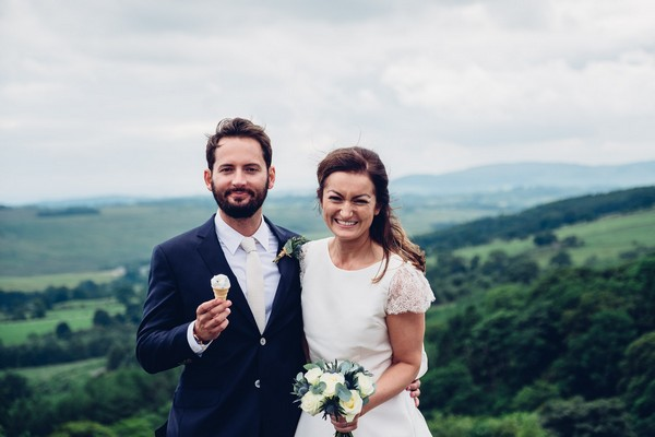 Bride and groom with ice creams