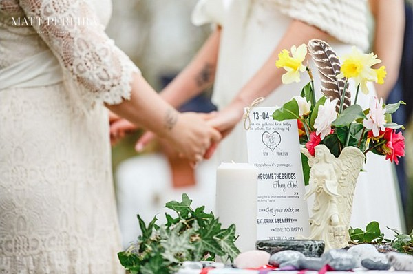 Bride's holding hands behind handfasting table