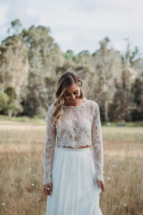 Bride in lace Tillie crop top by Karen Willis Holmes