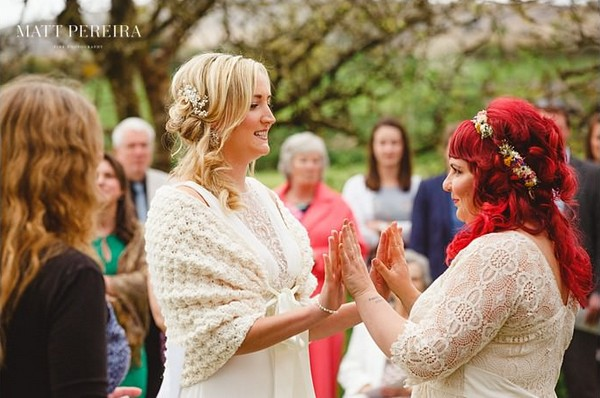 Bride's holding hands up against each other