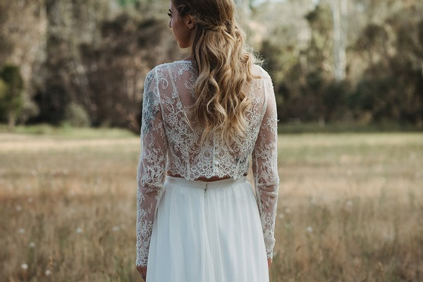 Back of bride's lace Tillie crop top
