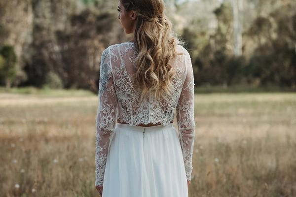 Back of bride's lace Tillie crop top