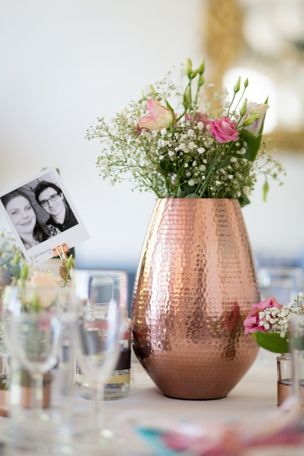 Copper vase on wedding table
