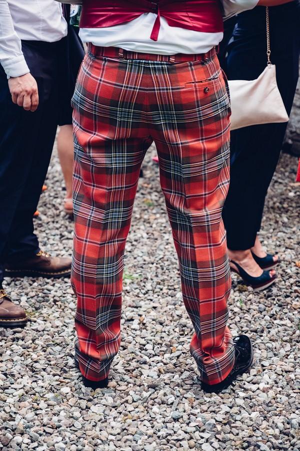 Red tartan trousers