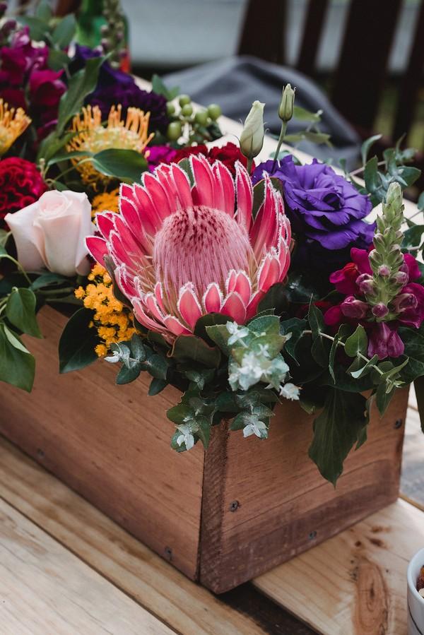 Crate of wedding flowers