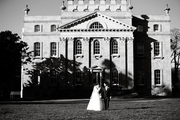 Bride and groom outside Kings Weston House