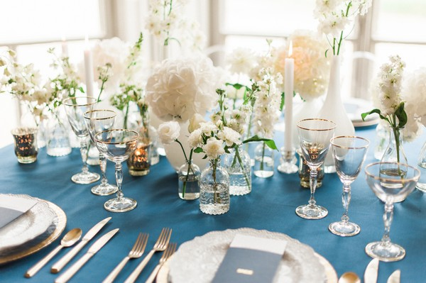 Glassware and vases on wedding table