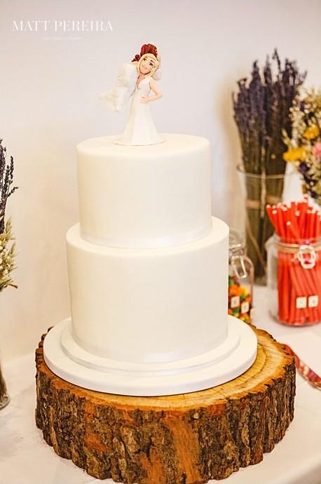 Plain white wedding cake