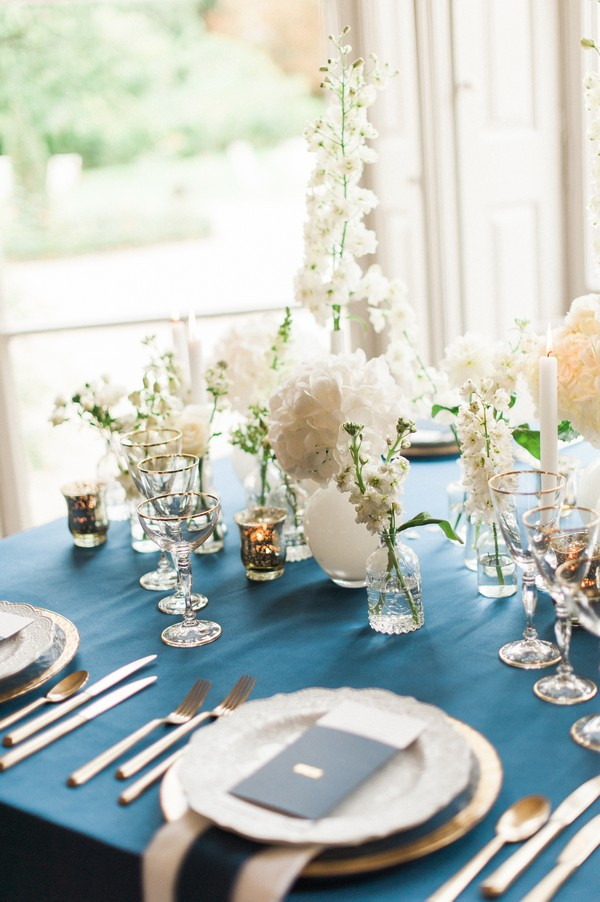 Glasses and vases on wedding table