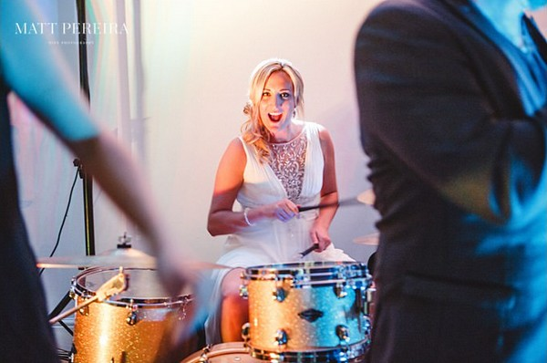 Bride playing the drums