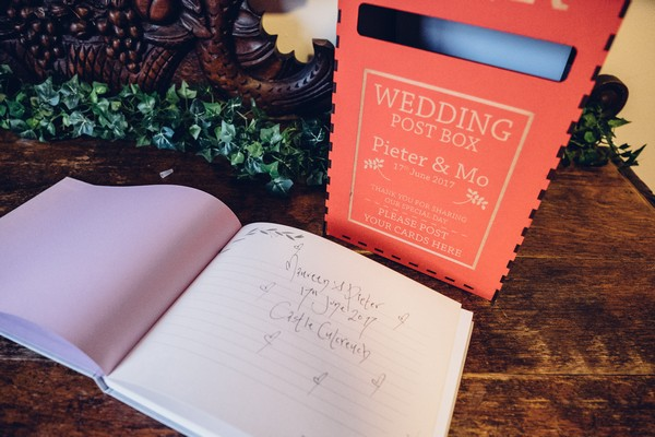Wedding guest book and card box