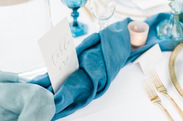 Blue silk table runner