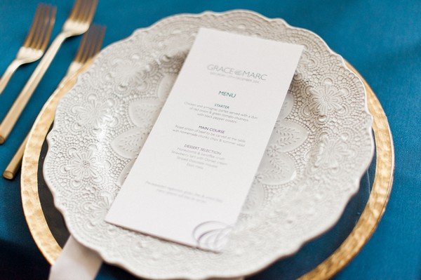 Wedding menu at place setting
