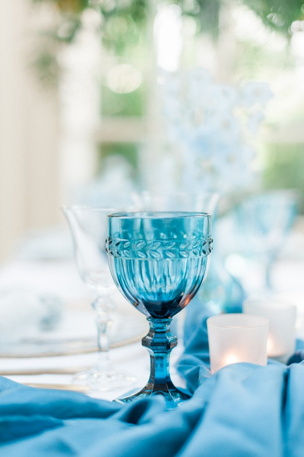 Blue glass on wedding table