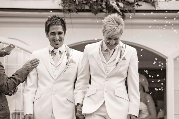 Happy Couple After Civil Partnership Ceremony