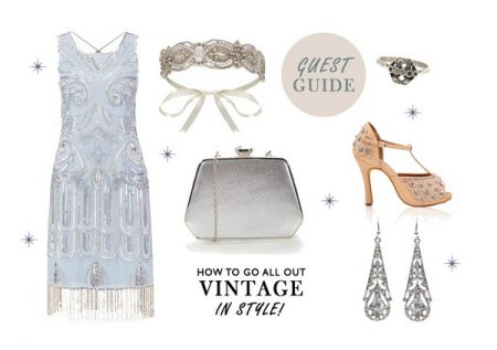Beaded Vintage Dress and Accessories Wedding Guest Outfit Idea