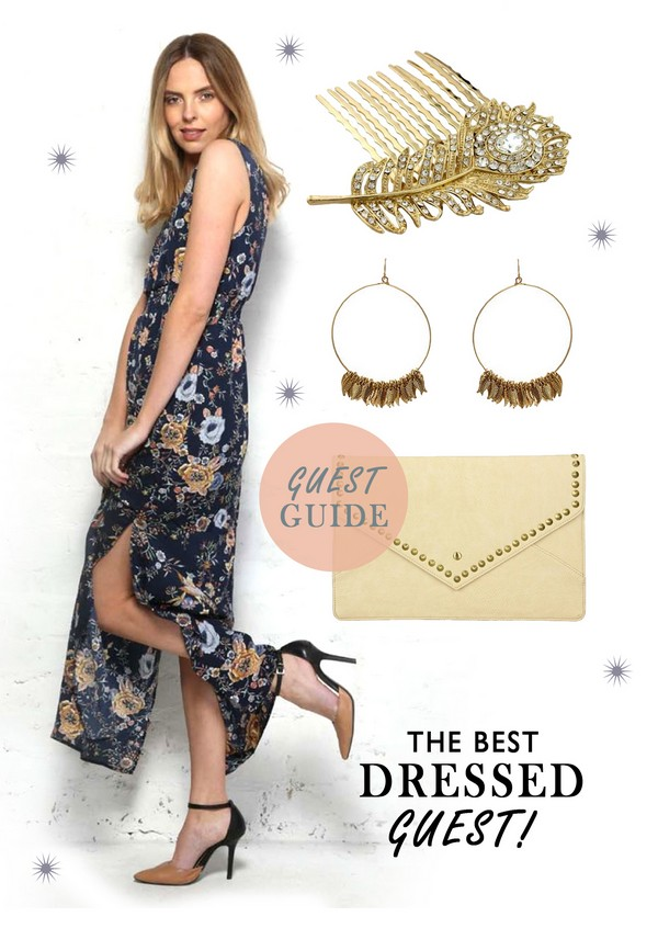 Floral Maxi Dress and Accessories Guest Outfit Idea for Vintage Wedding