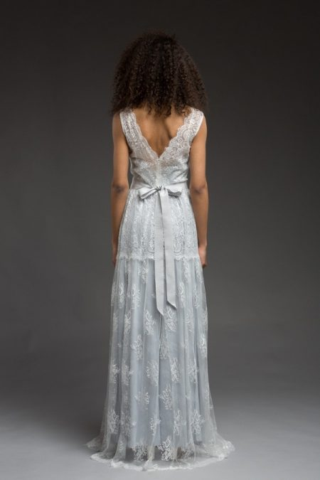 Back of Blue Wedding Dress from the Katya Katya Shehurina Morning Mist 2017-2018 Collection