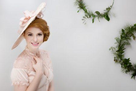 Blush Pink Boater Style Hat by Beverley Edmondson Millinery