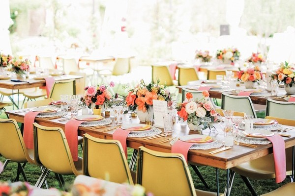 Colourful Wedding Table Flowers in Marquee