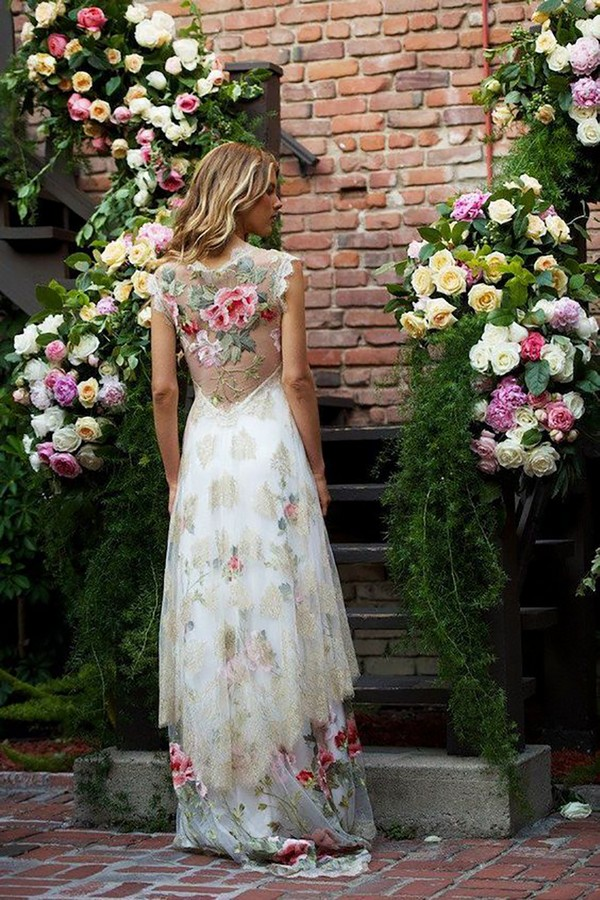 Heart's Desire Floral Wedding Gown by Claire Pettibone