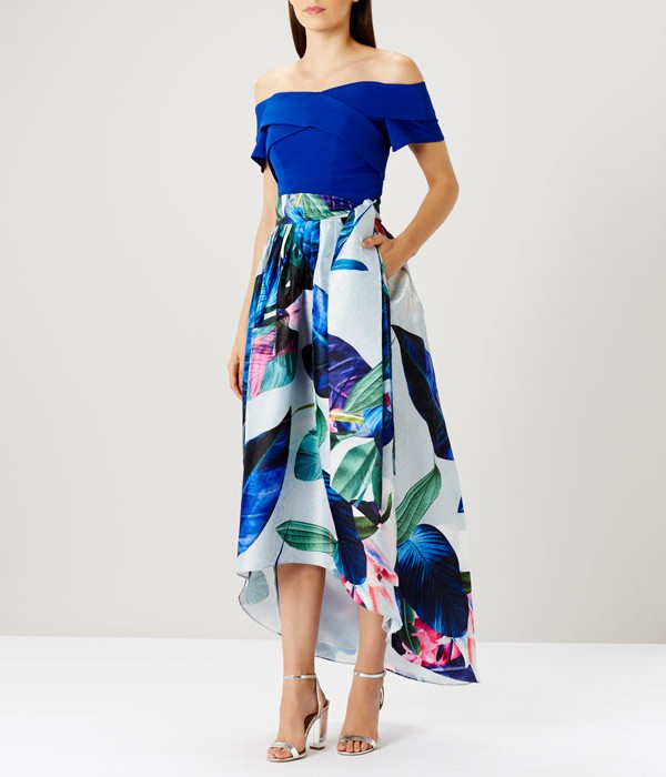 Howea Palm Print Skirt and Sima Structured Frill Top from Coast