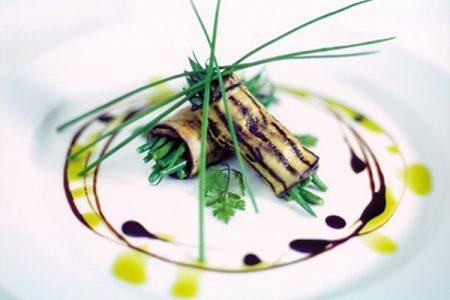 Vegan Wedding Menu Dish of Involtini of Chargrilled Aubergine