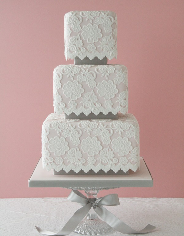 Lace Detailed Wedding Cake