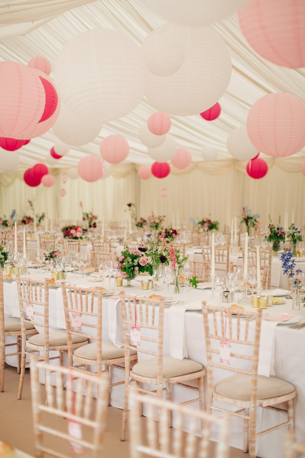 Marquee Wedding with Pink Lanterns Planned by Lamare London