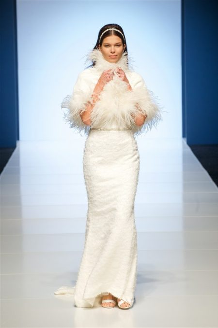 Nadia Wedding Dress with Feathered Cape from the Alan Hannah Veritas 2018 Collection
