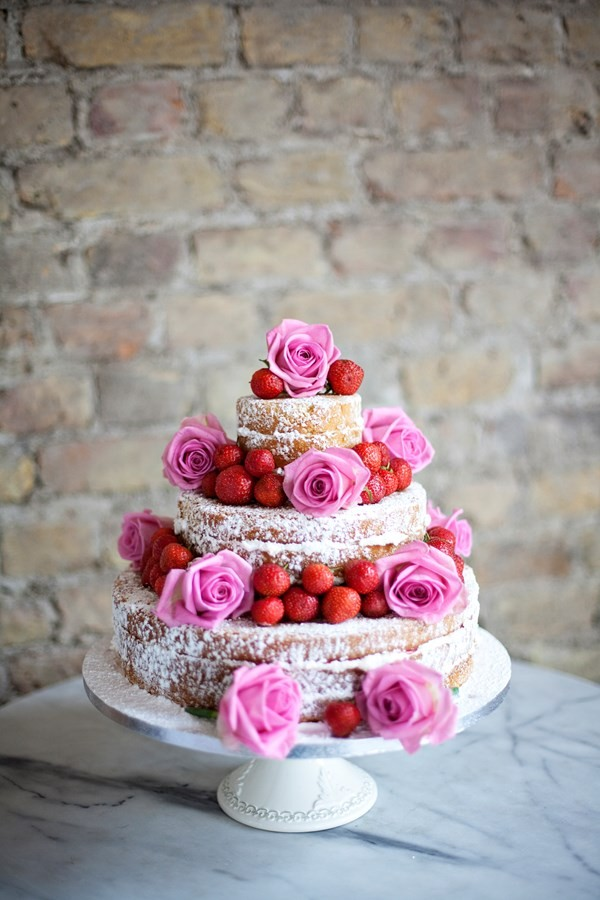 Naked Wedding Cake with Fresh Flowers by Genuine Cakes