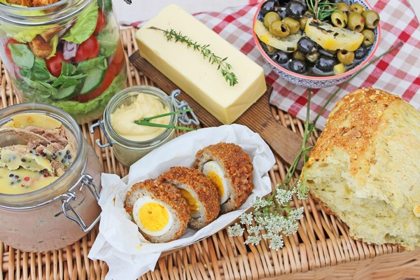 Picnic Food with Scotch Eggs