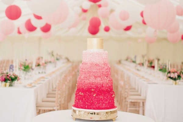 Pink Cake for Luxury Marquee Wedding Planned by Lamare London