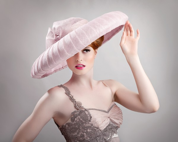 Pink Wide Brim Hat by Beverley Edmondson Millinery