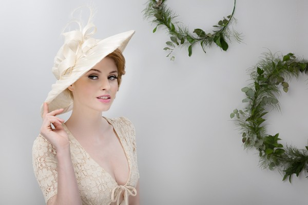 Refined Cream Disc Hat by Beverley Edmondson Millinery