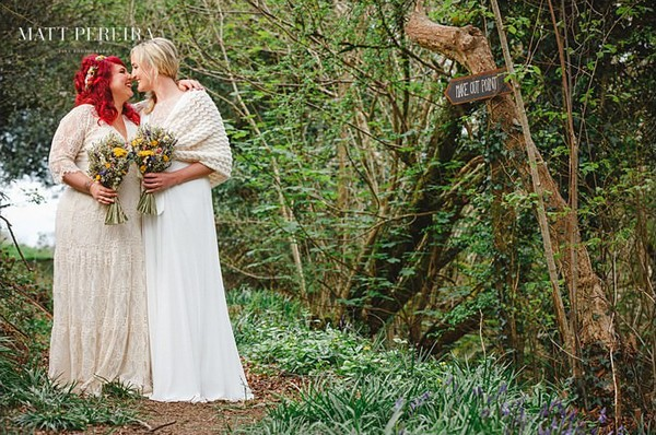 Two brides in woodland at The Green Cornwall