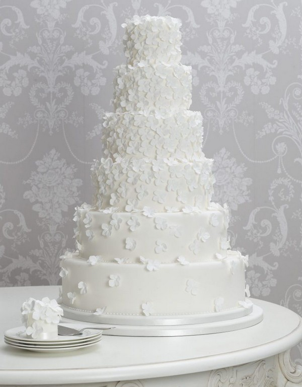 Tall Wedding Cake with Small Sugar Flowers