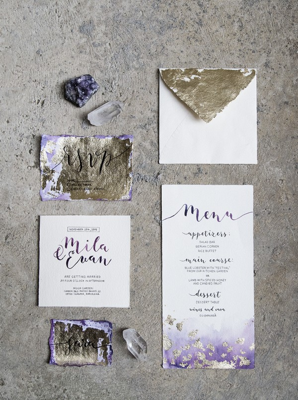 Gold and purple Amethyst inspired wedding stationery