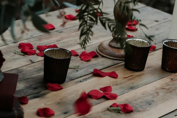 Votives and rose petals