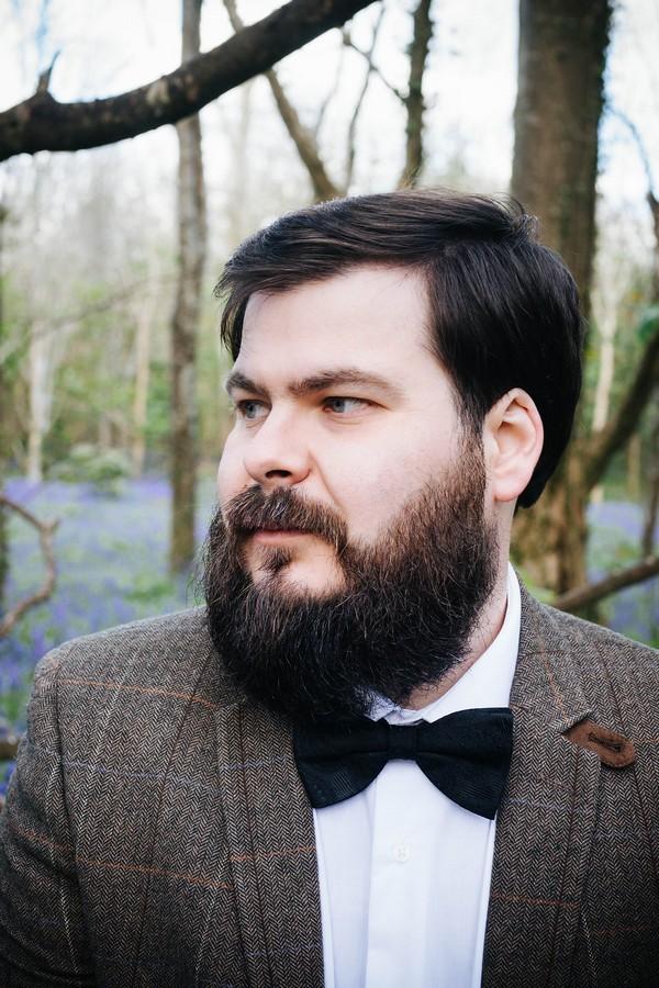 Groom with beard wearing bow tie